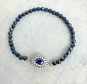 Blue Lapis Stretch Bracelet with Blue and White Crystal Focal Bead Turkey