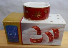 SAKURA GALAXY RED NAPKIN RING HOLDERS 4 PC BOX STARS GOLD HOLIDAY NEW