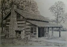 Log Cabin, drawing, historical, print, frontier art, Pencil, S&N