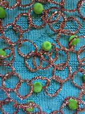 Retro Vintage Tinsel Beaded Christmas Garland - Pink With Green Beads