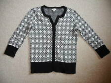 Womens Sweater-TALBOTS-white/black patterned cotton buttoncardigan 3/4 sl-PP
