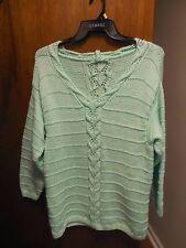 Hand Knit Pullover  Sweater Women's 2X to 3X  light Mint Green