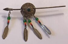 Warrior Pin Brooch Sterling Silver Bead Native American Indian Arrow Bear Shield