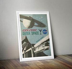 NASA Print - Explore Outer Space! retro Space poster Original Art Collectable A3