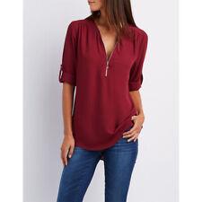 Summer Women T Shirt V-Neck Zipper Loose Casual Blouse Long Sleeve Tops