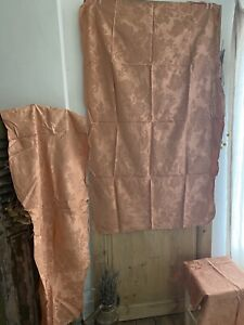 3 vintage French DAMASK BROCADE fabric pale pink panels UPHOLSTERY c1930