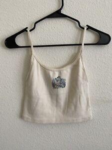brandy melville beige crop cotton Skylar kittens tank top NWT sz XS/S