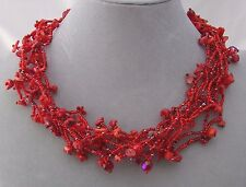 Chunky Red Czech Glass Bead Stone Chip Necklace Magnetic Fashion Jewelry NEW
