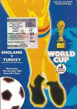 Football Programme plus Ticket>ENGLAND v TURKEY Oct 1985 WCQR