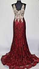 Women's Formal rhinestone beaded Embroidery Lace Long Evening Gown prom dress