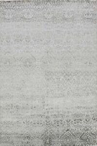 Wool & Silk Silver Gray Hand-Knotted Modern Damask Oriental Area Rug 8x10 Carpet