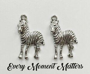 10 x Tibetan Silver ZEBRA ANIMAL 30x18mm Charms Pendant