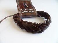 Viking Brown leather Plait  Bracelet, Norse, Celtic. Thor