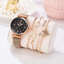 women fashionable  Gold watch and bracelet set 5pcs