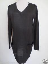 Feinstrick V-Neck Pullover H&M Longpullover S dunkelblau 25% Wolle wie NEU /C3