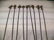"Turkish Stainless Steel Nine (9) Skewers, Brass Figural Ends 13 1/2"" long blade"