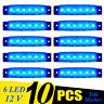 10 Pcs Blue 12V 6 LED Side Marker Indicators Lights Truck Trailer Bus Lorry New