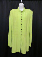 Design Today's Chartreuse Green Rayon Tunic Top Looped Buttons Size XL