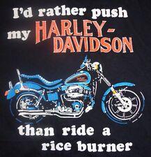 Vintage I'd Rather Push my Harley Davidson than Ride A Rice Burner Tshirt XL FXR