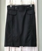 BEBE Women's Black Pencil Skirt Stretch Belted Large Buttons Knee Length Size 2