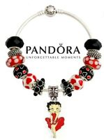 Authentic Pandora Charm Bangle Bracelet S925 Silver with 13 Betty Boop Beads USA