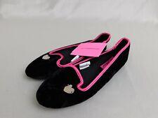 Betsey Johnson Slippers - Velvet Smoking Flats - Black - Ladies 5-6 Small #6500
