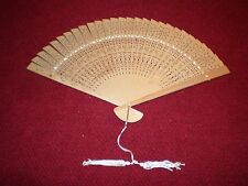 "Vintage Intricate Hand Cut Wooden Brise' Hand Fan with Tassel 9"" Handle"
