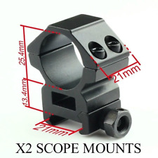 """2 x Scope Mounts 1"""" Ring 20mm Rail Rifle Raised 6mm Quality Airsoft Torch Laser"""