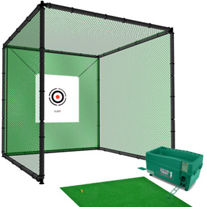Hillman PGM 3m Heavy Duty Golf Practice Cage, Practice Mat with Tee And Ball Dis