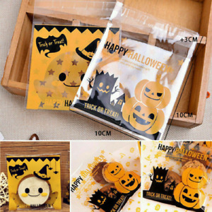100pcs Halloween Party Bags Self Adhesive Cellophane Treat Candy Cookies Bags UK
