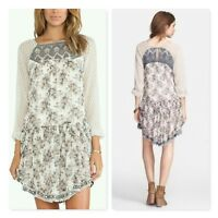 Free People Elsie Dress embroidered floral lace detail chiffon Magnolia Combo