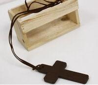 Stylish Modish Ladies Retro Wooden Cross Pendants Synthetic Leather Necklace
