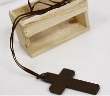 Stylish Modish Ladies Retro Wooden Cross Pendants Synthetic Leather Necklace ATA