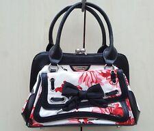 Karen Millen Floral Print Patent Leather Trim Small Grab Hand Bag Occasion