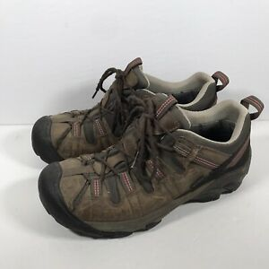 Keen Mens Size 9.5 Waterproof Hiking Trail Boots Brown Leather Shoes Keen Dry