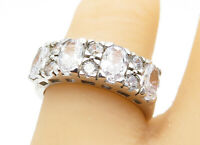 925 Sterling Silver - Cubic Zirconia Multi-Shape Band Ring Sz 7 - R11090