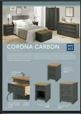 Corona Carbon 3 Piece Bedroom Suite Free Delivery! Wardrobe Chest & Bedside!
