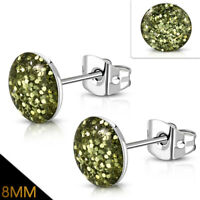 8mm Stainless Steel Yellow Gold Druzy Crystal Round Circle Stud Earrings pair