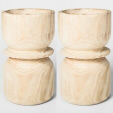 "2pk THRESHOLD Carved Planter Wood | 12"" x 7"" |  Natural | NWT"