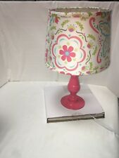 The Peanut Shell Coral Pink And White Nursery Lamp Base And Shade Mila Girls