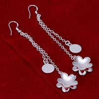 Asamo Ladies Earrings Flower 925 Sterling Silver Plated Earrings O1223