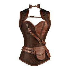 Brown Brocade Pattern Steampunk Corset Faux Leather Brown Removable Pouch Sz 32