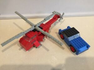 Lego 1970s Legoland blue car and red helicopter