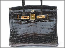 Exquisite BLACK CROCODILE 30cm Hermes Birkin Bag/Gold