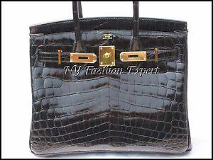 Exquisite BLACK CROCODILE 30cm Hermes Birkin Bag/Gold