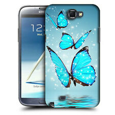 CUSTODIA COVER per SAMSUNG GALAXY N7100 NOTE 2 TPU BACK CASE FARFALLE AZZURRE