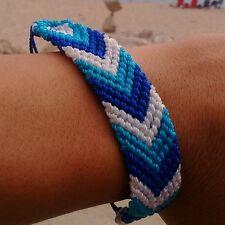 Light blue, white & blue woven handmade friendship Erik's bracelets adjustable.