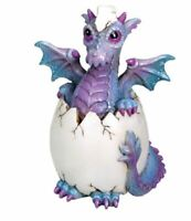 Green and Purple Baby Bindy Dragon Hatchling in Egg Fantasy Figurine