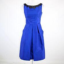 Royal blue 100% silk KAY UNGER rhinestone trim box pleated tea dress 2
