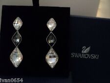 Signed Swan Swarovski Long Faceted Rhodium Pierced Earrings